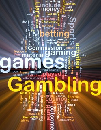 Background concept wordcloud illustration of gambling betting gaming glowing light Stock Illustration - 6364609
