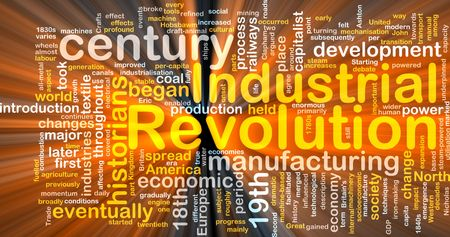 industrialization: Word cloud concept illustration of industrial revolution glowing light effect  Stock Photo