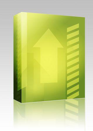 Software package box Forward moving arrows pointing upwards, design illustration illustration