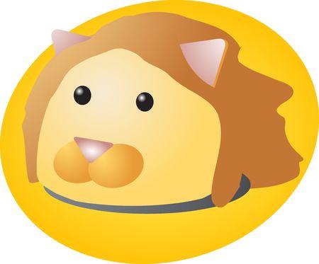 Cartoon head of a lion, cute animal illustration illustration
