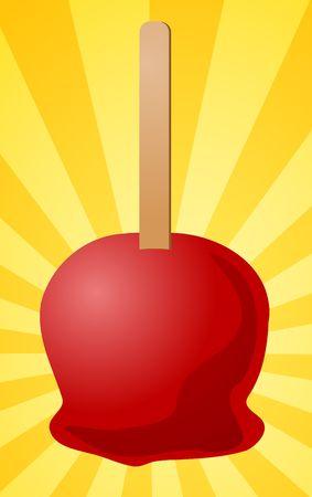 goodies: Candy toffee apple on stick, illustration on radial burst