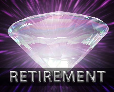 retire: Luxury retirement wealth savings investment concept background diamond illustration