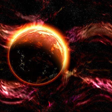 Science fiction cosmic planet complex space scene illustration Stock Illustration - 6365398