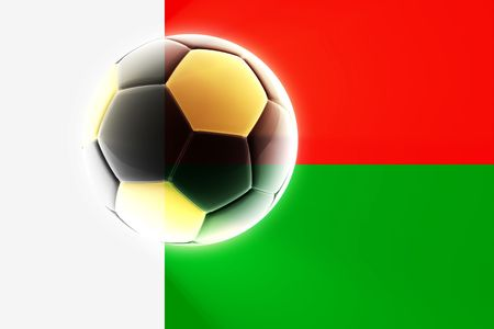 madagascar: Flag of Madagascar, national country symbol illustration sports soccer football