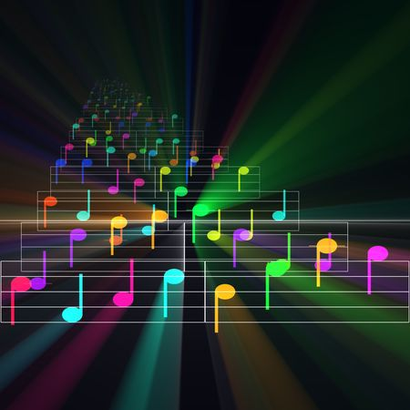 cheery: Colorful notes sheet music cheerful musical concept background illustration glowing light