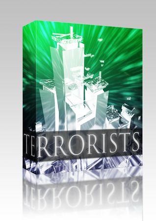 al: Software package box Terrorist terror attack Al Queda terrorism bombing concept illustration