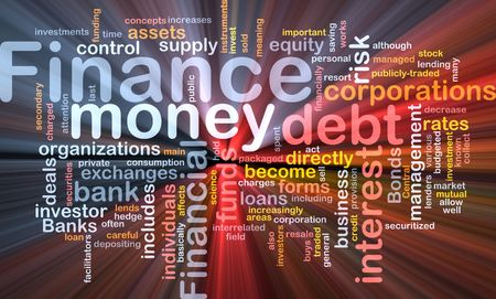 Word cloud concept illustration of money finance glowing light effect