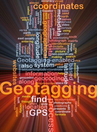 coordinates: Background concept wordcloud illustration of GPS geotagging coordinates glowing light Stock Photo
