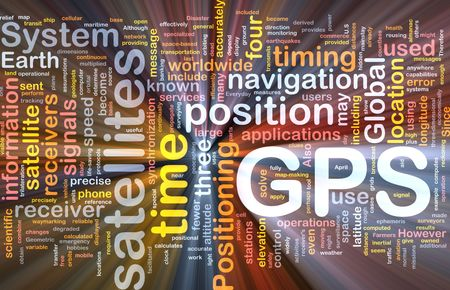 Background concept wordcloud illustration of GPS Global positioning glowing light illustration