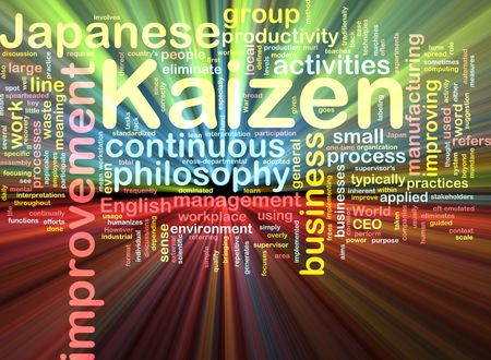 Word cloud concept illustration of kaizen improvement glowing light effect  illustration