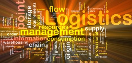 coordinate: Word cloud concept illustration of logistics management glowing light effect