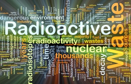 hazardous waste: Background concept wordcloud illustration of hazardous radioactive waste glowing light Stock Photo