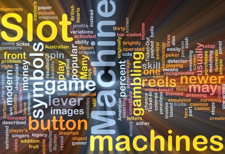 Background concept wordcloud illustration of slot machine gambling glowing light illustration
