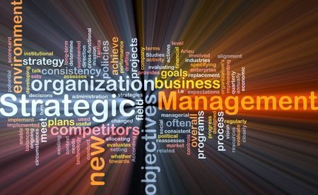 alignment: Word cloud concept illustration of strategic management glowing light effect