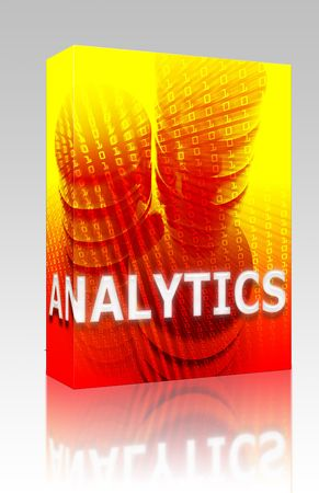 Software package box Data analytics abstract, computer technology information concept illustration illustration