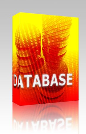 Software package box Database Data storage abstract, computer technology concept illustration illustration