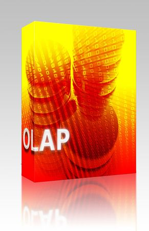 Software package box OLAP data abstract, computer technology information concept illustration illustration