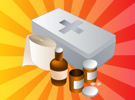 firstaid: First aid kit and its contents including pills and bandages, illustration