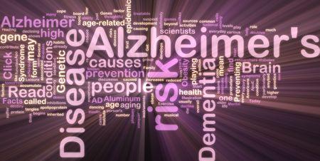 oorzaken: Word cloud concept illustratie van de ziekte van Alzheimer gloeiende neon licht stijl