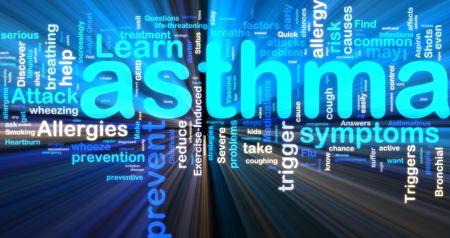 asthma: Wort-Wolke tags Konzept Illustration von Asthma gl�hend Neonlicht Stil
