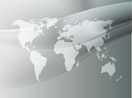 Map of the world illustration, with abstract curved lines illustration