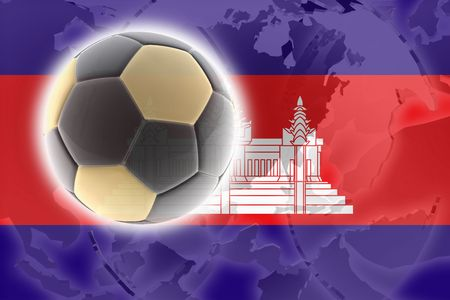 cambodian: Flag of Cambodia, national symbol illustration clipart sports soccer football