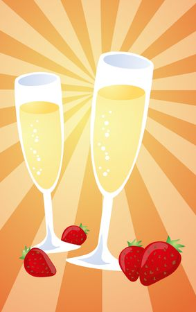 Romantic celebration with champagne and strawberries, illustration illustration