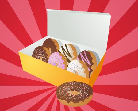 Box of assorted donuts illustration on radial burst Stock Illustration - 6403918