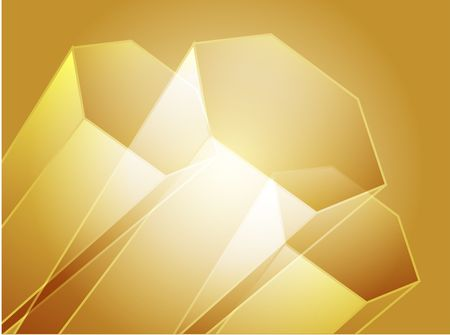 crystalline gold: Abstract illustration wallpaper of 3d geometric hexagon shapes
