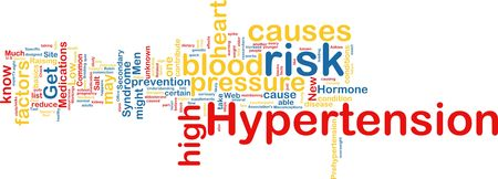 disease prevention: Word cloud tags concept illustration of hypertension