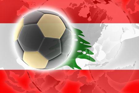 Flag of Lebanon, national country symbol illustration sports soccer football Stock Illustration - 6404061