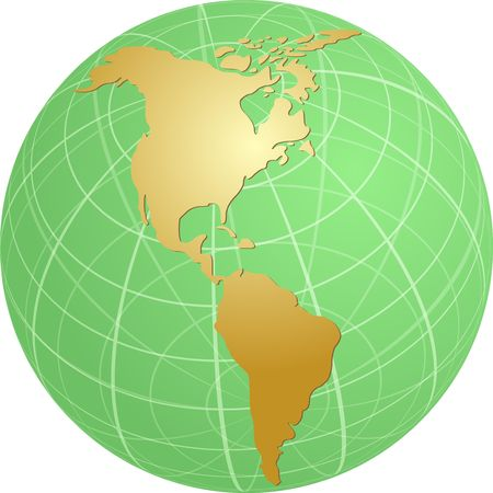cartographical: Map of the Americas, on a globe, cartographical illustration