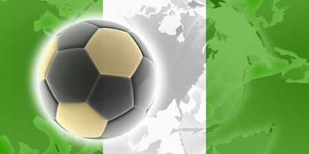 country nigeria: Flag of Nigeria, national country symbol illustration sports soccer football Stock Photo
