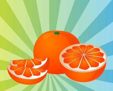 Orange fruit, whole, halved, and sliced into sections, illustration illustration