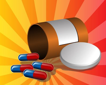 Illustration of open pillbox with pills, spilled red and blue capsules illustration