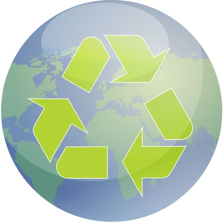 Recycling eco symbol illustration of three pointing arrows over world globe map illustration