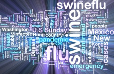 recommendations: Word cloud concept illustration of swine flu glowing neon light style