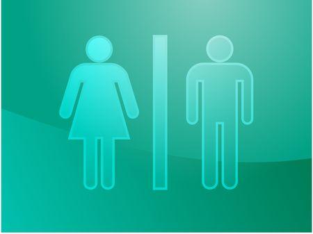 watercloset: Toilet symbol illustration, classic design of man and woman