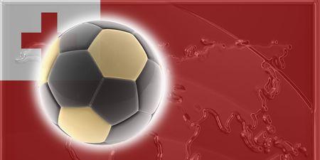 Flag of Tonga, national country symbol illustration sports soccer football illustration