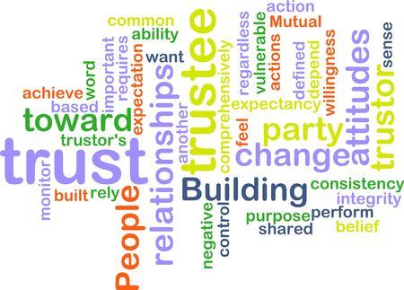willingness: Word cloud concept illustration of building trust Stock Photo