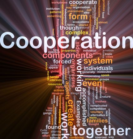 intentional: Background concept wordcloud illustration of cooperation management together glowing light Stock Photo