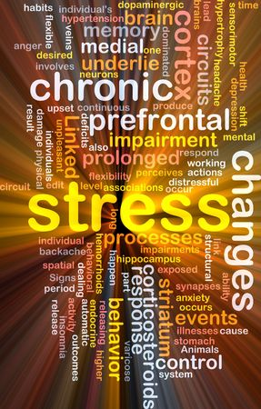 Background concept wordcloud illustration of chronic mental stress glowing light Stock Illustration - 6404267