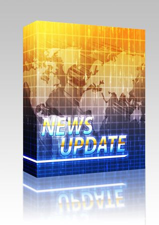newsflash: Software package box Latest breaking news newsflash splash screen announcement illustration Stock Photo