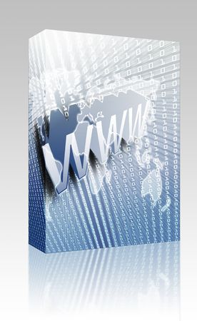 dotcom: Software package box WWW Internet, online digital abstract wallpaper illustration