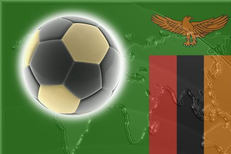 Flag of Zambia, national country symbol illustration sports soccer football Stock Photo