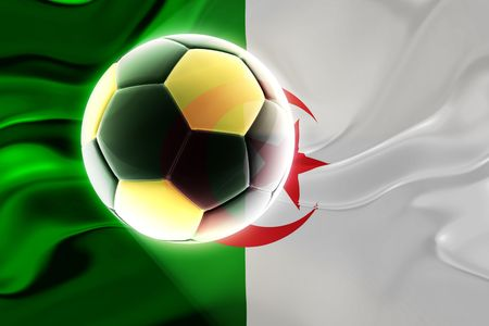 Flag of Algeria, national country symbol illustration wavy fabric sports soccer football illustration