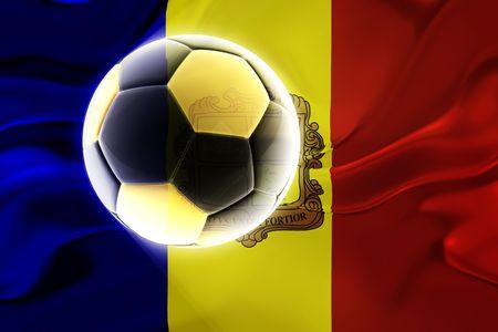 Flag of Andorra, national country symbol illustration wavy fabric sports soccer football illustration
