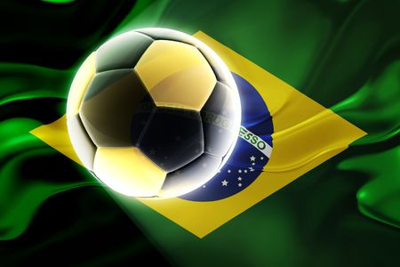 rippling: Flag of Brazil, national country symbol illustration wavy fabric sports soccer football