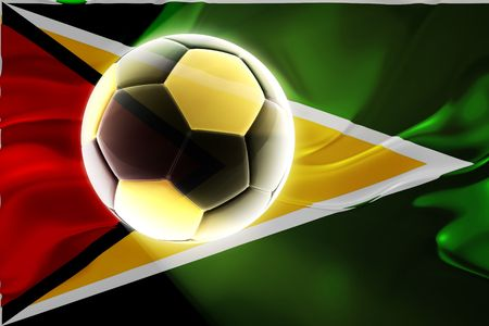Flag of Guyana, national country symbol illustration wavy fabric sports soccer football illustration