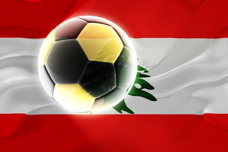 Flag of Lebanon, national country symbol illustration wavy fabric sports soccer football illustration